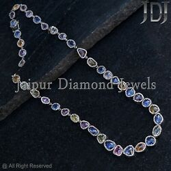 Natural Pave Diamond Multi Sapphire 23 Necklace 925 Silver Wedding Jewelry Gift