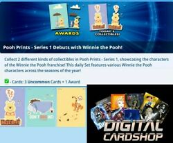 Topps Disney Collect Card Trader Pooh Prints Uncommon Set Of 3 + Award
