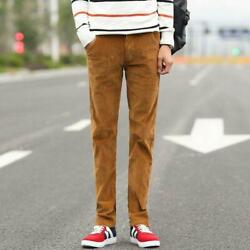 Mens Vintage Casual Straight Pants Corduroy Skinny Long Trousers Working Stretch