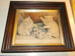 Currier And Ives My Little White Kitties Playing Dominoes Antique Lithograph
