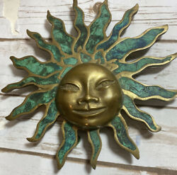Mid Century Signed Pepe Mendoza Mexico Sun Face Hand Crafted Brass Art
