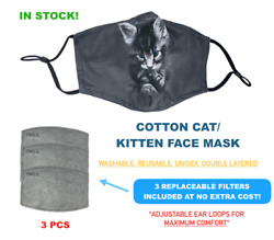 Cat Animals Kitty Kids Face Mask Reusable Washable Filters Fashion Cute Cotton $9.99
