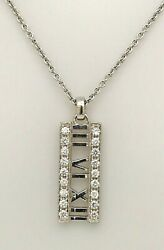 And Co. 18k White Gold Atlas Diamond Bar Pendant And Chain
