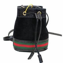 GUCCI Ophidia Mini Textured Leather Trimmed Suede Bucket Bag Black 550620 $930.75