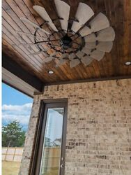 """Oiled Bronze Windmill Fan 72 Outdoor, Cage Light Kit And 72"""" Down Rod"""