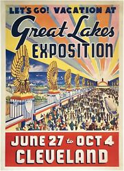 Original Vintage Poster Great Lakes Exposition Cleveland Worlds Fair Travel Ol