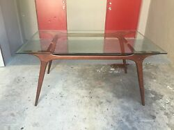 Mid Century Modern Boomerang Style Exotic Wood Dining Table With Glass Top