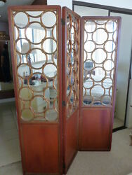 Rare James Mont Coromandel Chinoiserie Screen W Mirrored Back And Cut Out Circles
