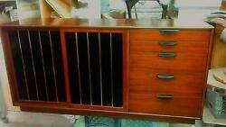 Super Rare 1960and039s High Style Harvey Probber Leather Brass And Wood Credenza