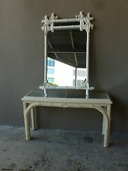 Fabulous 70and039s Vintage Palm Beach Style Chinese Chippendale Console And Mirror