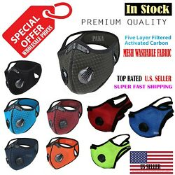 NEW style Cycling Face Mask With Active Carbon Filter Breathing Valves Reusable  $14.39