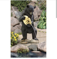 Black Bear With Beehive Spitter Piped Statue 16½wx14½dx29½h Gf,dt F20