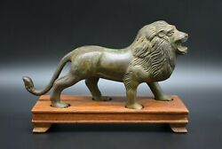 Ancient Roman Bronze Lion Figurine C. 1st - 3rd Century Ad - With Wooden Stand