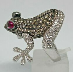 STENZHORN Diamond & Ruby Frog Ring 3.75ct 18ct White Gold -Size L - RARE