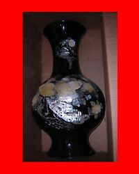 Vintage Oriental Black Lacquer Porcelain Vase With Mother Of Pearl Carvings