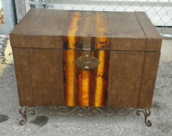70and039s Exotic Snakeskin Trunk With Scrolled Iron Legs