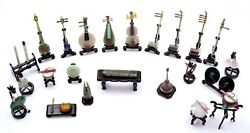 24 Chinese Jade Turquoise Lapis Carved Miniature Musical Instruments Wood Stand