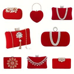 Flower Purse With Rhinestones Velvet Clutch Evening Bags Suede Party Handbags $20.24