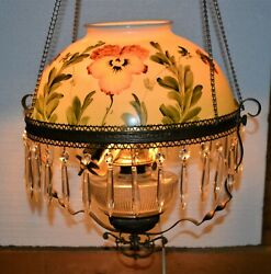 Victorian Parlor Pull Down Lamp Lovely Hand Painted Shade Prism Crystals 1890's