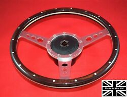 13 Riveted Wood Steering Wheel And Hub. Fits Triumph Tr7 77-82