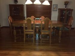Antique Walnut Dining Room Set.9 Pieces+2 Leaves. Caption Chair.sturdy 1930andrsquos. Andnbsp