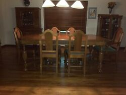 Antique Walnut Dining Room Set.9 Pieces+2 Leaves. Caption Chair.sturdy 1930's.