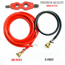 Battery Relocation Kit,0/1 Awg Cable, Top Post 20 Ft Red / 5 Ft Black,usa Made