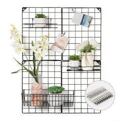 Multifunction Metal Mesh Grid Panel Wire Wall for Photo Hanging Display Black