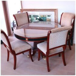 Vintage Wooden Round Dining Table And Chairs