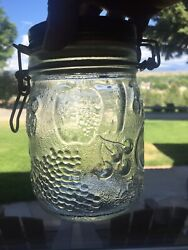 Vintage Wheaton Glass Jar Canister Wood Top- Wire Bale Embossed Fruit 3/4 Lrare