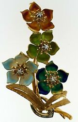 Vintage 18Kt Gold+Multi-Color Enamels~Diamond Flower Spray Brooch Pin~Italy~WOW