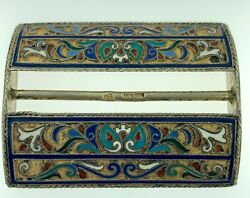 Antique Imperial Russian 84 Shaded Enamel Silver Gilt Belt Buckle Moscow 1888