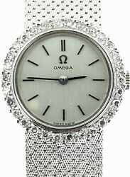 Vintage Omega 18kt White Gold Factory Diamonds Mechanical Watchall Swiss Made