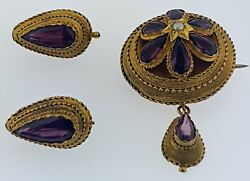 Antique Victorian Etruscan Revival 15 Kt Gold+amethysts Brooch+earrings Setwow