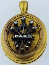 Victorian Antique Locketsolid 18kt. Gold With Old Rose Cut Diamondscirca 1870