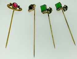 Collection Of 4 Four Antique Gold Filled Stick Pins