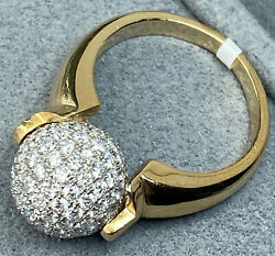 14k Yellow White Two-tone Gold Pave-set Diamond Rolling Ball Unusual Ring 7.25