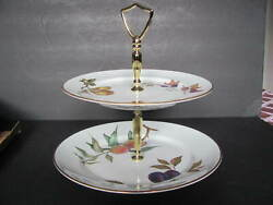 Royal Worcester Evesham 2 Tier Handled Cookie Cake Tidbit Tray - New In Box