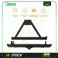 For Jeep Wrangler 87-96 Yj / 97-06 Tj Rear Bumper And Tire Carrier Black D-ring