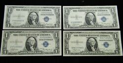 Lot Of 4 1935-a 1.00 Dollar Silver Certificate Paper Notes Xf+-au