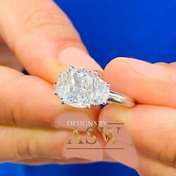 14k Solid White Gold Cushion And Half Moon Moissanite Engagement Ring 3.00ctw