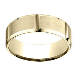 14k Yellow Gold 7.00 Mm Comfort-fit Men's Wedding And Anniversary Band Ring Sz-7