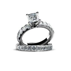 1.75 Ct Princess Cut Simulated Diamond 14k White Gold Engagement And Wedding Rings