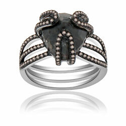 Heavy 9.48 Ct Black Rough And Brown Diamond 18k Gold And Sterling Cocktail Ring 7.5
