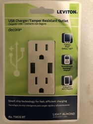 Leviton Usb Charger/tamper Resistant Outlet Light Almond New