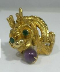 Retro 14k Gold Chinese Dragon Ring With Cabochon Ruby And Emerald Eyes