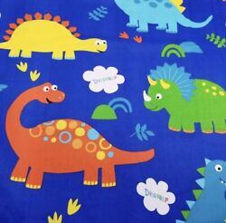 Cute Dinosaur Kids Cotton Fabric. Deep Blue Color. Thick Cotton. BTY $12.95