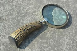 Brass Horn Magnifying Glass For Reading, Handcrafted Bone Handle Magnifier