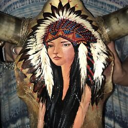 Buffalo Bison Head Skull With Painting Of Native Indian Woman Signed Galvey