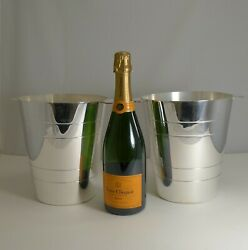 Pair English Vintage Modernist Silver Plated Deco Style Wine / Champagne Coolers